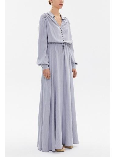 Societa Beli Lastikli Düğmeli Uzun Elbise 92251 Gri